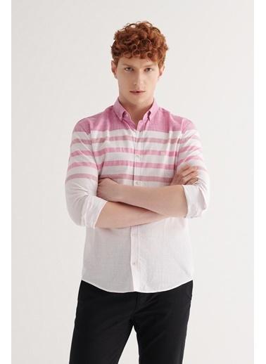 Avva Erkek Enine Çizgili Düğmeli Yaka Slim Fit Gömlek A11Y2194 Pembe